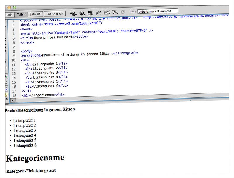 HTML schreiben
