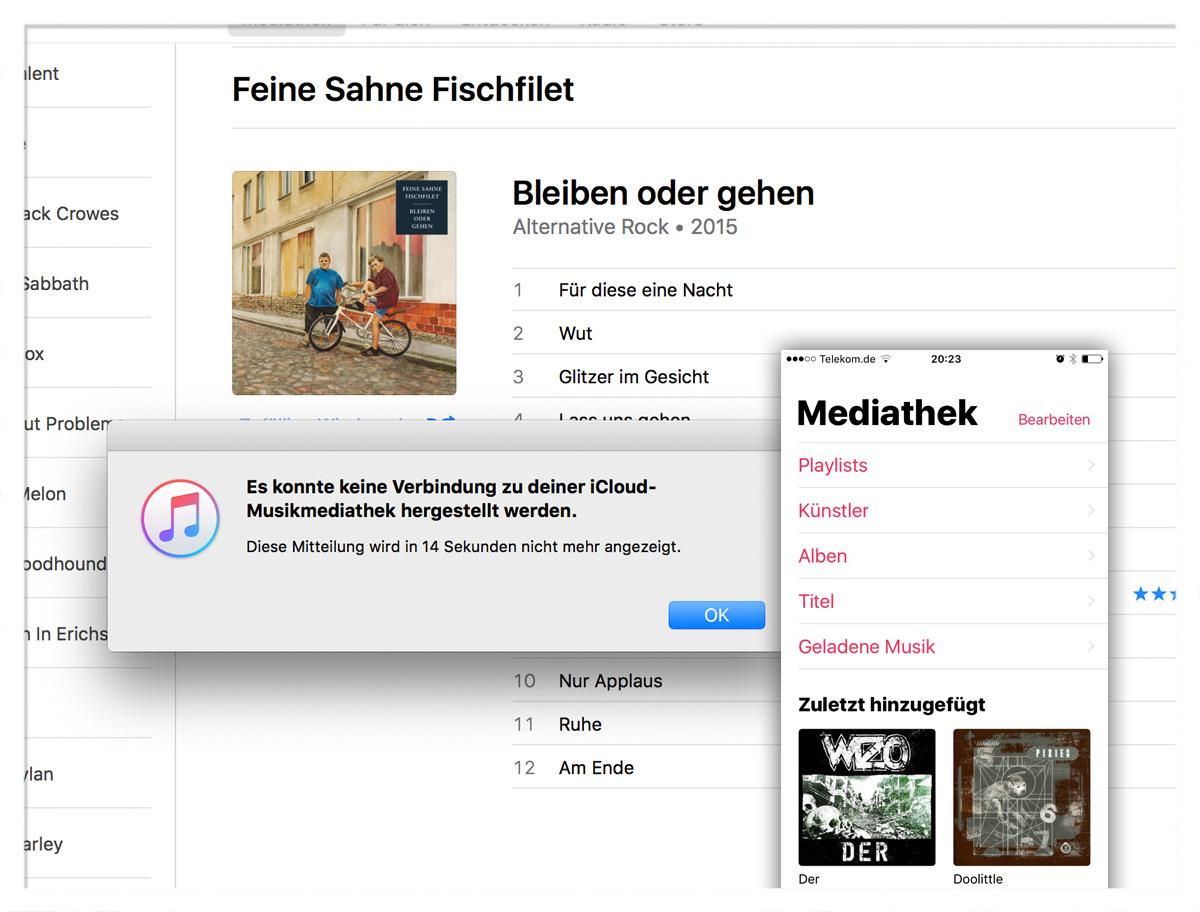 Die Musik-App unter iOS10 und iTunes 12.5.1