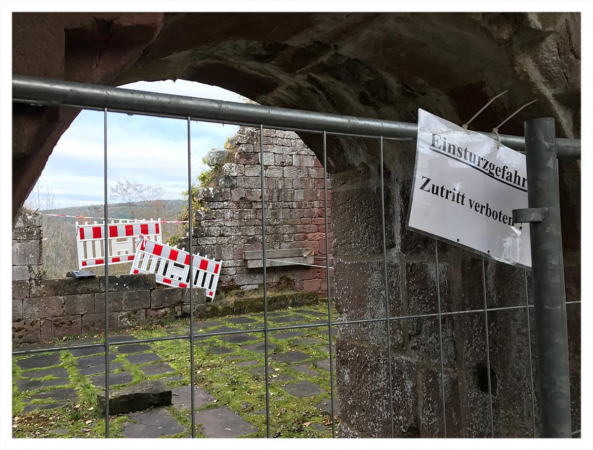 Einsturzgefahr auf Burg Wildenberg