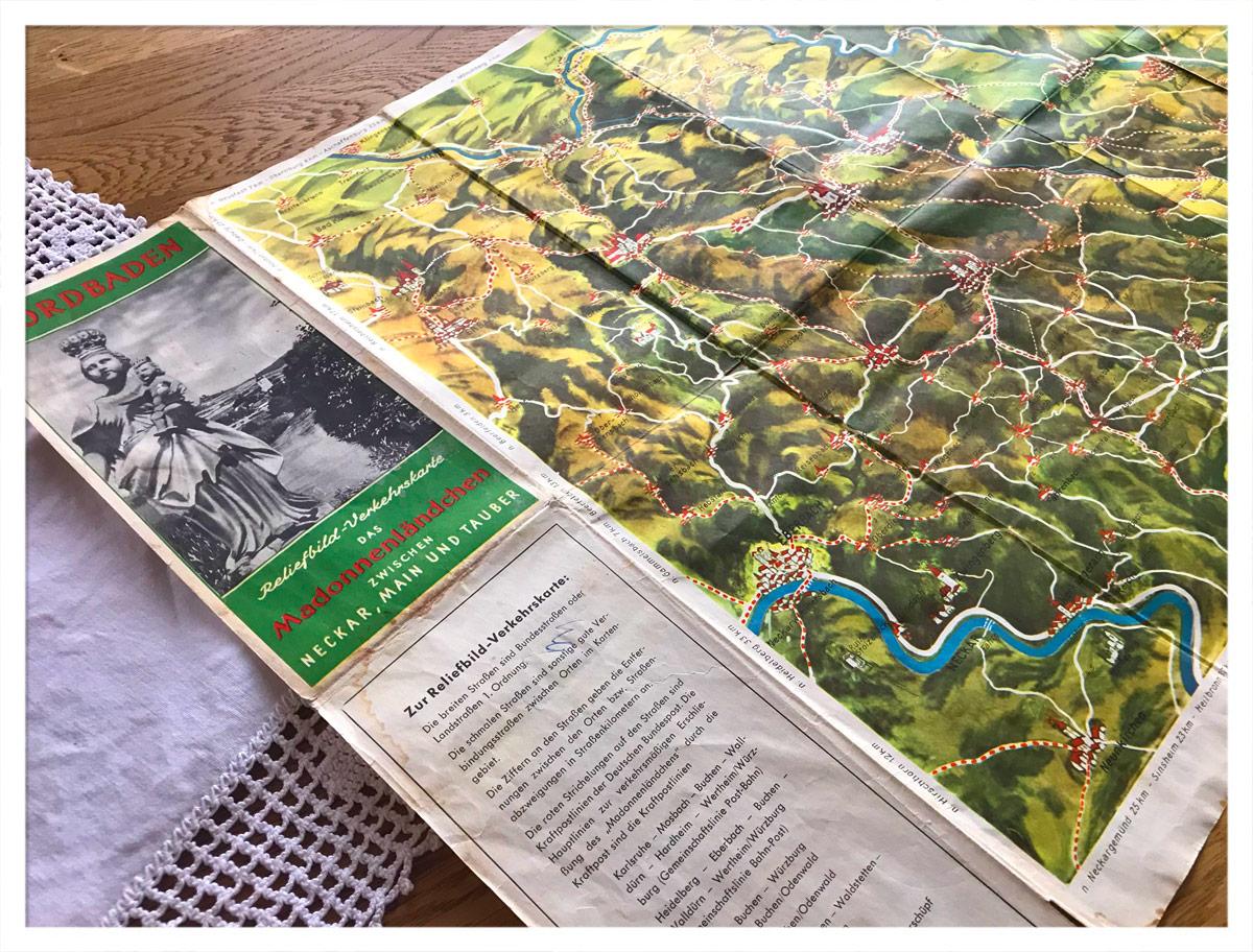 Reliefbild-Verkehrskarte Nordbaden/Madonnenländchen
