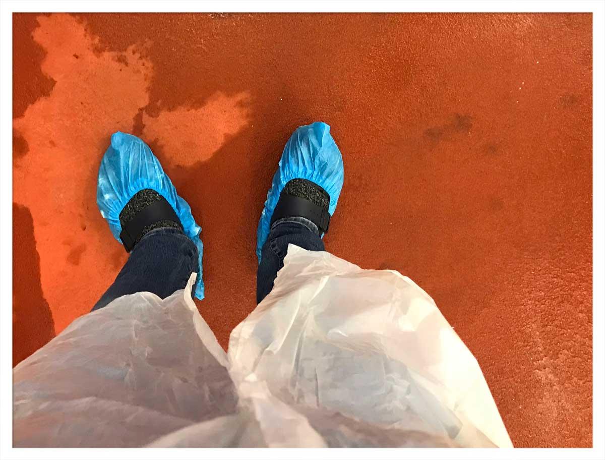 Passt nicht zusammen: Birkenstock und Einweg-Schuh-Überzieher